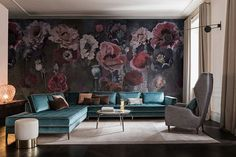 Wallpaper with floral pattern PAVOT Contemporary Wallpaper 2017 Collection By Wall&decò design Eva Germani Wallpaper 2017, Wallpaper Collection, Flower Wallpaper, Inspiration Wand, Decoration Inspiration, Living Room Carpet, Living Room Bedroom, Modern Led Ceiling Lights, Home Carpet
