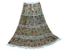Summer Cotton Gypsy Skirt Trendy Fashion Long Skirt