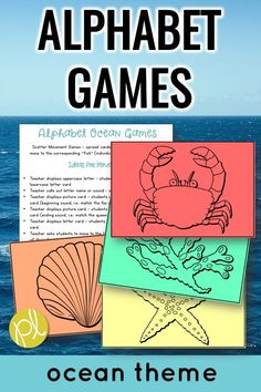 Alphabet Games - Add movement to learning with this set of Alphabet Ocean Game cards! Match letters, sounds, and build words with this ocean of fish and other sea animals. Great for PreK-1 and intervention. From Positively Learning #alphabetgames #alphabetcenters