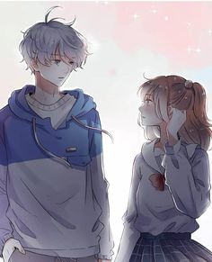 I really like this couple, the name of this manhua is: lonely,lonely fireflies 💕 Anime Neko, Kawaii Anime Girl, Anime Girl Cute, Anime Art Girl, Manga Anime, Anime Kiss, Manga Girl, Sad Anime Couples, Romantic Anime Couples