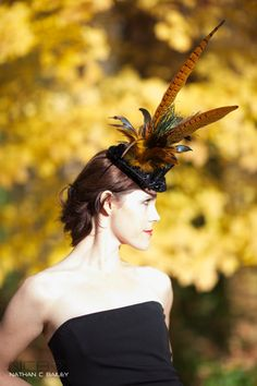 Black Mini Top Hat with Rust Orange Feathers and by LaCocoRouge, $85.00