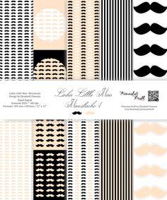 Kit Digital com 20 papéis em alta resolução -  My Little Man - Moustache 1 by Elisabeth Pimenta