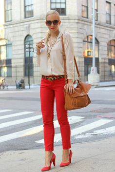 Red jeans with leopard belt and gold chains! #fashion #classy