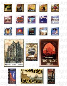 Digital Images of VINTAGE HOTELS 126 for dominoes by arttoart, $2.00
