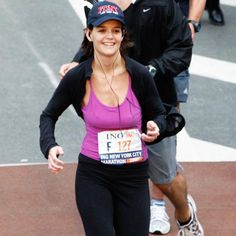 When you think of celebrity marathoners, you think of Katie Holmes and her blue baseball cap and purple tank top. There was endless controversy surrounding Mrs. Tom Cruise's 2007 New York City Marathon, which she finished in just under 5.5 hours.