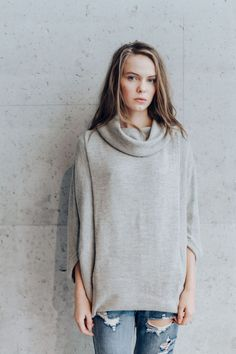 Knitted Sweater. Alpaca Sweater. Cowl Neck Pullover. Wide Turtleneck. Oversized Loose Fit Sweater. Kangaroo Style.