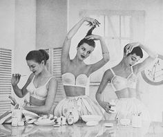 Vintage lingerie ad.  Wish I looked so lady like in the mornings