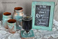 Create a Copper-Blue Patina Mason Jar Mason Jars, Mason Jar Crafts, Candle Jars, Wood Picture Frames, Picture On Wood, Dollar Store Crafts, Dollar Stores, Light Up The Candle, Patina Paint