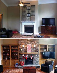 Apporter du caractère et de l'âme au living room grâce aux meubles en bois et cheminée en pierre