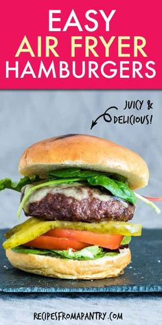 This is how you make Juicy Air Fryer Hamburgers that the whole family will happily tuck into. Make these air fried hamburgers with ground beef fresh patties or frozen patties. Just add buns cheese and fries. Recipes Using Ground Beef, Ground Beef Recipes For Dinner, Air Fryer Dinner Recipes, Air Fryer Recipes, Healthy Tacos, Healthy Recipes, Potluck Recipes, Quiche Lorraine, Cannoli