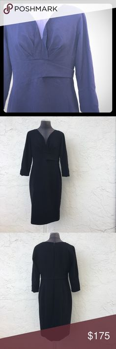 """Modern ELIE TAHARI long sleeve wool LBD Chic & Gorgeous in its modern asymmetrical simplicity, this is a must have. fully lined light wool. Raw edged v neck line. Faux belt wraps one way around to symmetrical back. Zip closure with hook & eye. Kick split. Sizing info has been cut out. Shown on my size 8 mannequin.  Laying flat: 17"""" at waist. 19"""", piit to pit. 21"""" at hip. Approx 39"""" shoulder to hem. A modern Marilyn or Joan/Mad Men dress. Every line follows feminine curves. Stunning! Needs a…"""