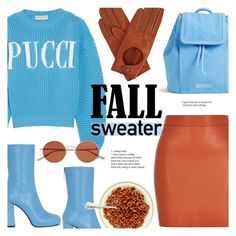 """""""Pucci Sky Blue"""" by alexandrazeres ❤ liked on Polyvore featuring Emilio Pucci, Vera Bradley, MSGM, Gizelle Renee, Oliver Peoples, SkyBlue, pucci and fallsweater"""