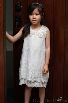 Ecru L Embroidered Lace Dress