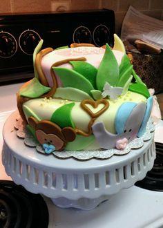 Baby Jungle Animal marshmallow fondant cake