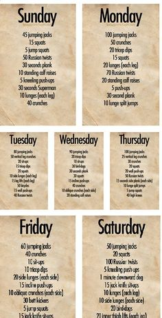 Weekly workout plan... along with 20 min of cardio, 30 day squat and plank challeneges, and 3x a week 300abs