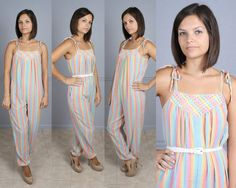 Vintage 70s 80s Rainbow Striped Romper by ForeverAfterVintage, $89.99