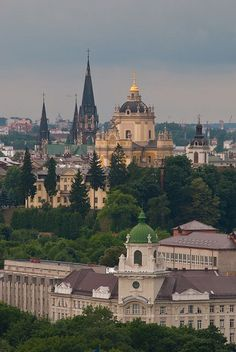 On the left - church of Olga and Elizabeth. On the right - St.George Cathedral. A view of Lviv from the Town Hall by Kuba Abramowicz, via Flickr. Closeup.