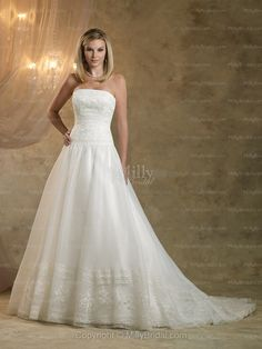 A-line Strapless Organza Satin Chapel Train White Lace Wedding Dresses at Millybridal.com