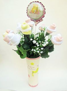 Baby Shower Centerpiece  Baby socks flower by VioletCreationz, $24.99