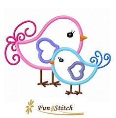 Twin birds applique machine embroidery design