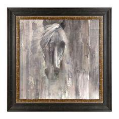 Gray and White Horse Framed Art Print | Kirklands