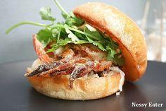 Soft Shell Crab Burger at Hammer Tong (melbourne, VIC). Crab Burger, Melbourne Restaurants, Soft Shell Crab, Delicious Burgers, Good And Cheap, Eating Plans, Bagel, Good Food, Wine