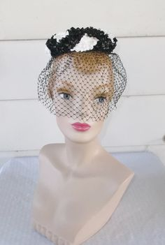 1960s Vintage Black and White Pill Box Hat by MyVintageHatShop