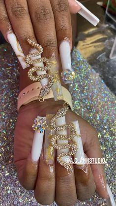 Acrylic Nails Coffin Pink, Long Square Acrylic Nails, Bling Nails, Swag Nails, Bling Nail Art, Stylish Nails, Trendy Nails, Dope Nail Designs, Drip Nails
