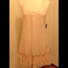 DRESS ✨F R E E P E O P L E✨ Beautiful Free People sheer with sequin overlay baby pink dress #NWT Free People Dresses