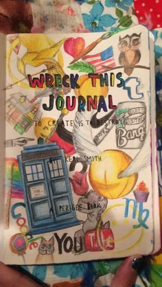 WRECK THIS JOURNAL 2.) The second thing I've done to the journal is decorate the inside cover with my own drawings.  This actually took a really long time, but I'm pretty happy with how most of it came out.  I didn't colour the left page, but I plan on it in the future!
