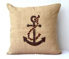 Nautical Throw Burlap Pillow Cover Anchor Sequin Cushion