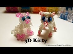 Rainbow Loom 3D CAT Charm. Designed and loomed by Elegant Fashion 360. Click photo for YouTube tutorial. 03/16/14