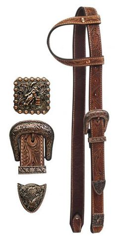 belt+headstall | Belt Style Headstall with Barrel Racer Conchos