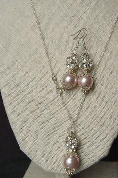 Champagne Pearl jewelry set Bridal jewelry by NewJewelleryStory
