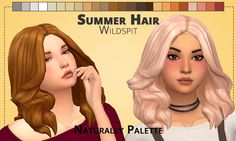 New hair from @wildspit, it's the summer hair! Recolored in the Naturally Palette. • Base Game Compatible • Need the Mesh: Here • Add swatches to the hair • TOU Don't claim it as your own and don't...