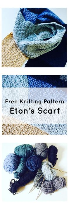 Free knitting pattern - Eton's Scarf.  This is a simple beginner's knitting pattern which can be customized to whatever you'd like!  It's a great pattern for using up scrap yarn skeins lying around in your yarn craft stash :)