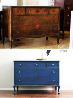 before and after :: blue antique chest | Natty by Design