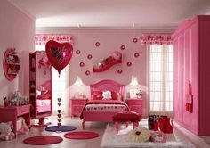 Hello Kitty Bedroom is one of the most popular interior theme for a girl's room. Hello Kitty bedroom requires simple and yet amazing decorative palette Pink Bedroom Design, Pink Bedroom For Girls, Girls Room Design, Pink Bedrooms, Girl Bedroom Designs, Pink Room, Little Girl Rooms, Bedroom Decor, Bedroom Furniture