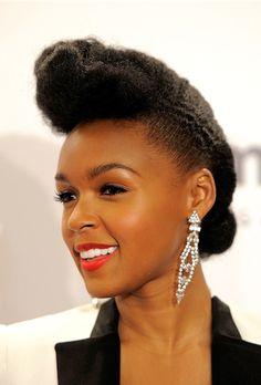 Curly hairstyles, Natural Hairstyles, natural hair, Jonelle Mone, Celebrity hairstyles, pompadour, natural hair updos
