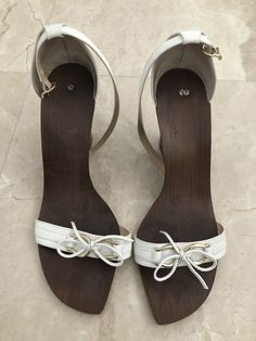 99d9755d6 Kate Spade White Leather Open Toe Ankle Strap Wood Wedge Sandals Sz 10   fashion