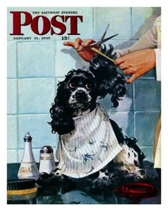 """""""Butch's Haircut,"""" Saturday Evening Post Cover, January 31, 1948 Giclee Print by Albert Staehle at Art.com"""