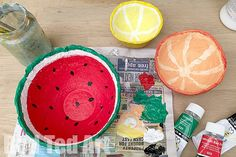 Make some fabulous Papier Mache Bowls - these are a perfect use for shredded paper and make a fabulous Gift That Kids Can Make. We decorated ours as fruit