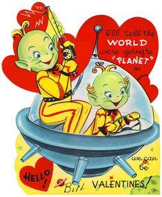 25 Vintage Scifi, Space, & Robot Valentines - The Retrofuturist My Funny Valentine, Valentine Images, Valentines Art, Vintage Valentine Cards, Saint Valentine, Vintage Greeting Cards, Vintage Holiday, Valentine Day Cards, Vintage Postcards