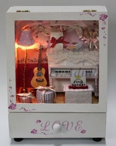 Dollhouse Miniature PIANO ROOM Music Box DIY with Drawer, Furniture