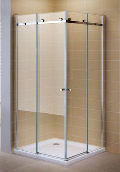 Porte de douche coulissante en verre de sécurité transparent 200cm #88 (90cm X 110cm SANS bac à douche)