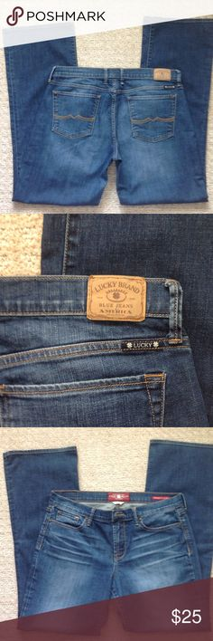 """Lucky Brand Jeans Sweet 'N Low Boot Cut Jeans in very good condition. Label size: 12/31. Front rise 10""""' back rise 14"""", waistband 18"""" across, inseam 32.5"""". EUC Lucky Brand Jeans Boot Cut"""