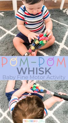 This pompom whisk baby activity works on fine motor skills and learning. Using colored poms is a great fine motor activity for infants 9 months or older.- PomPom Whisk: A Baby Fine Motor Activity - Teaching Littles<br> Baby Learning Activities, Cognitive Activities, Activities For 1 Year Olds, Problem Solving Activities, Motor Skills Activities, Gross Motor Skills, Toddler Learning, Infant Activities, Nursery Activities