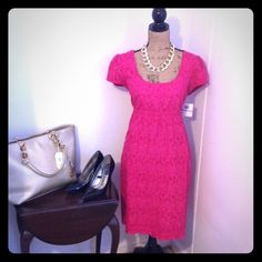 "Donna Morgan Fuchsia Eyelet Dress This is a Donna Morgan eyelet dress. Color is Fuchsia. NWT. Size 12. 100% cotton combo and 100% silk outer. 100% acetate lining. Waist is 34"" and has elastic. Length is apprx 39"". Bust is apprx 40"". Donna Morgan Dresses Midi"