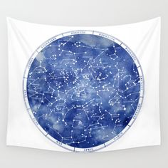 Star Map II Wall Tapestry by Stevyn Llewellyn - Small: x Tapestry Bedroom, Wall Tapestry, My New Room, My Room, Spare Room, Dorm Room, Constellation Tapestry, Galaxy Room, Fabric Ceiling