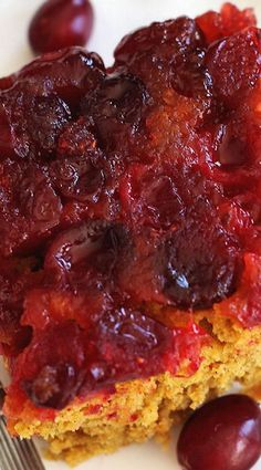 Cranberry Pumpkin Upside Down Cake